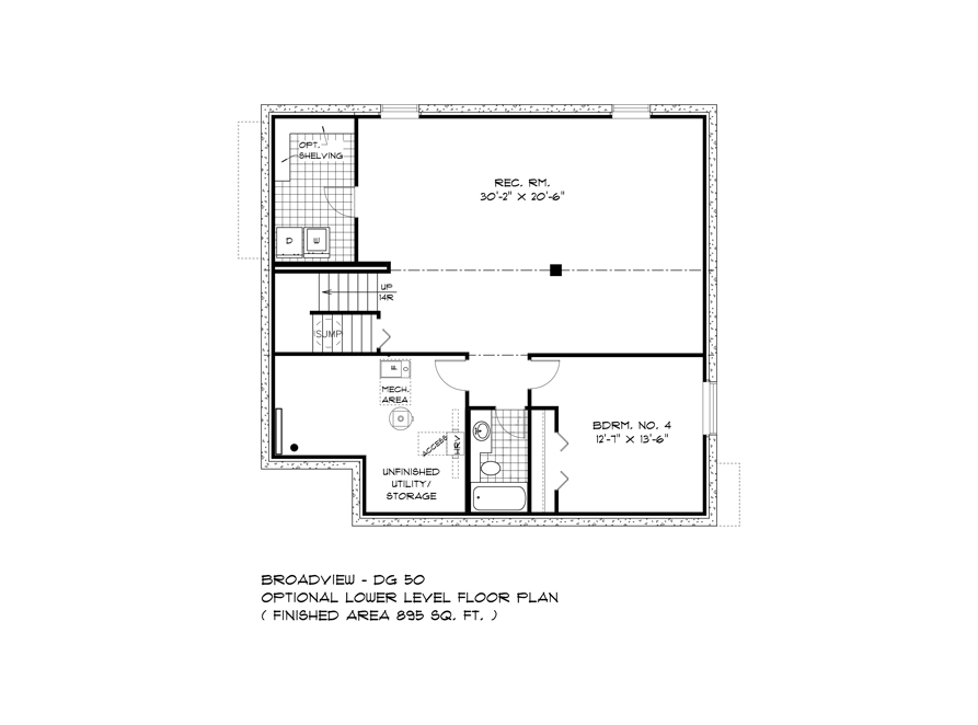 Lower Level Plan - DG 50 A Pritchard Broadview Homes