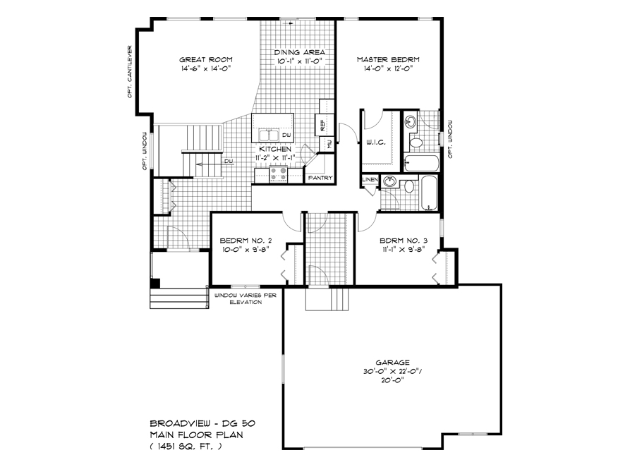 Main Floor Plan - DG 50 A Pritchard Broadview Homes