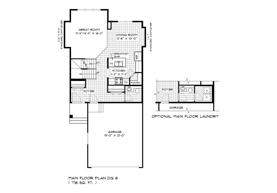 DG 8 The Thorncliff 2-storey home main floor plan with great room, dining room, kitchen, powder room and front attached garage with optional main floor laundry layout broadview homes