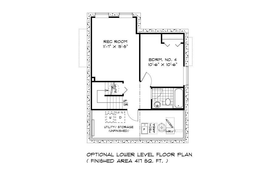 DG 8 The Thorncliff 2-storey home lower level plan with 4th bedroom, full bathroom, rec room and utility area broadview homes