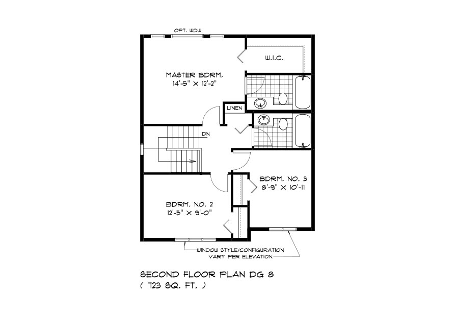 DG 8 The Thorncliff 2-storey home second floor plan with 3 bedrooms and 2 bathrooms Broadview Homes