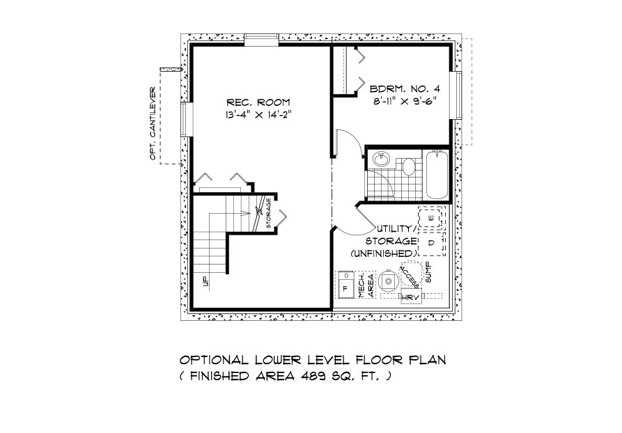 DG 9 The Aurora 2-storey home lower level plan with 4th bedroom, full bathroom, rec room and utility area broadview homes