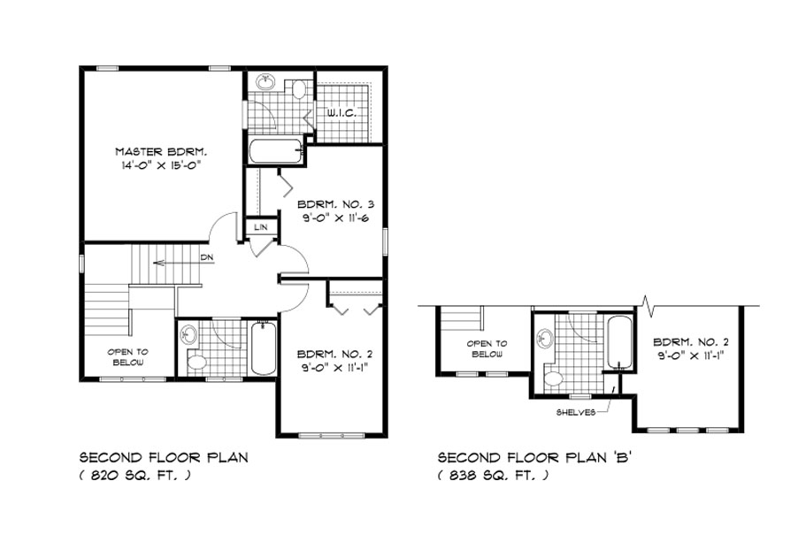 Dg 9 The Aurora 2-storey home second floor plan with 3 bedrooms, 2 bathrooms and elevation options broadview homes