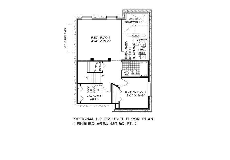 RG 101 The Santiago 2-storey lower level plan with 4th bedroom, laundry area, rec room, full bathroom and utility area broadview homes