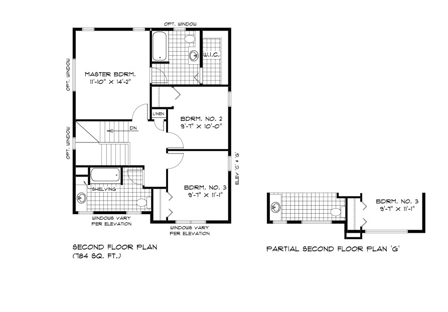 RG 101 The Santiago 2-storey second floor plan with 3 bedrooms and 2 bathrooms broadview homes