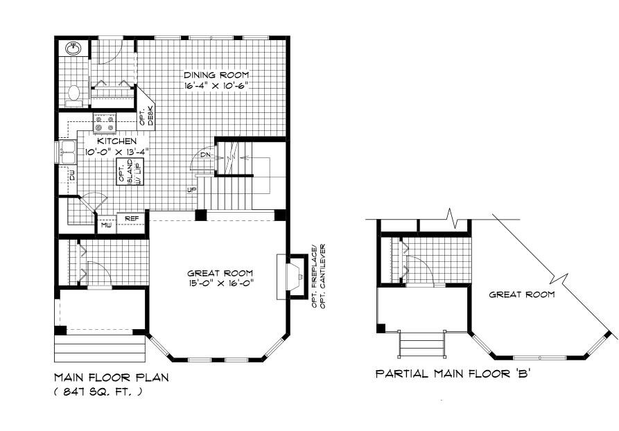 RG 103 The San Marino 2-storey home main floor plan with great room, dining room, kitchen and powder room broadview homes