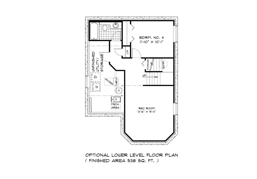 RG 103 The San Marino 2-storey home lower level plan with 4th bedroom, full bathroom, rec room and utlity area broadview homes