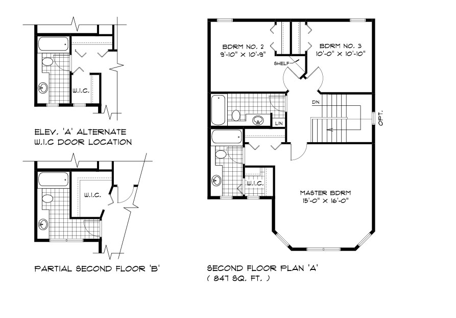 RG 103 The San Marino 2-storey home second floor plan with 3 bedrooms and 3 bedrooms and optional layout broadview homes