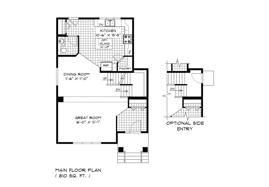 RG 105 The Mendoza 2-storey home main floor plan with great room, dining room, kitchen and powder room, and optional side entry plan broadview homes
