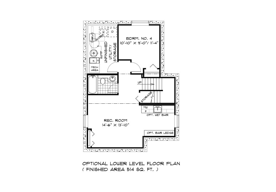 RG 105 The Mendoza 2-storey home lower level plan with 4th bedroom, rec room, full bathroom and utility area broadview homes