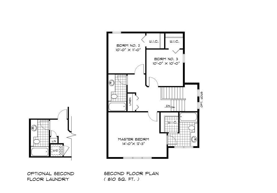 RG 105 The Mendoza 2-storey home second floor plan with 3 bedrooms and 2 bathrooms broadview homes