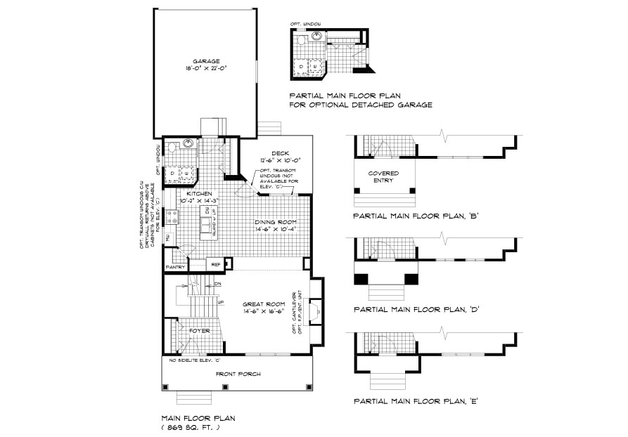 RG 70 The Willowcrest 2-storey home main floor plan with great room, dining room, kitchen, and powder room with main floor laundry broadview homes