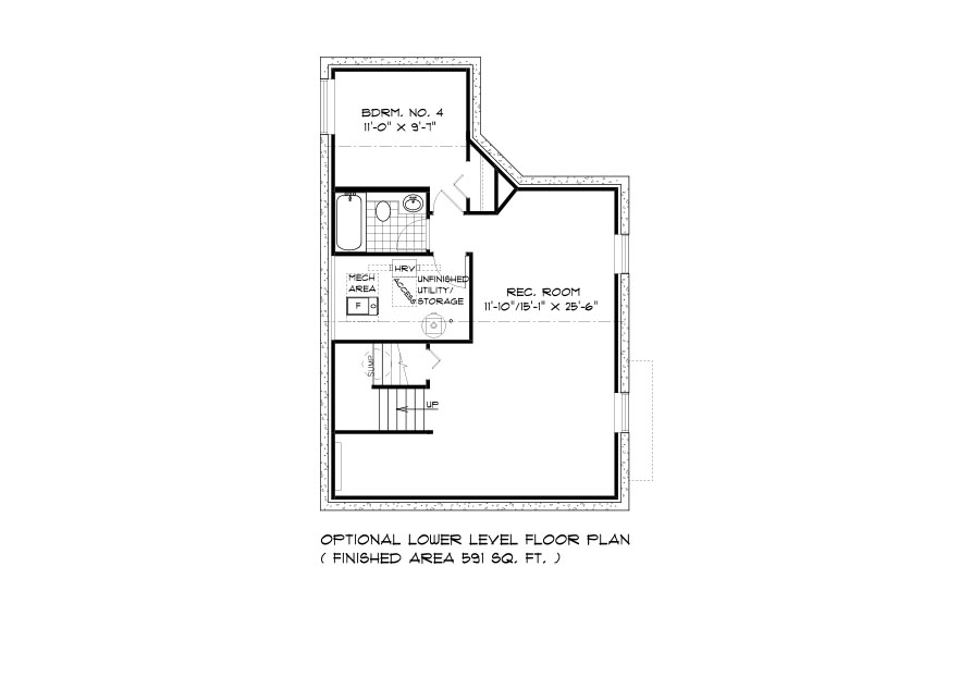 RG 70 The Willowcrest 2-storey home lower level plan with 4th bedroom, full bathroom, rec room and utility area broadview homes