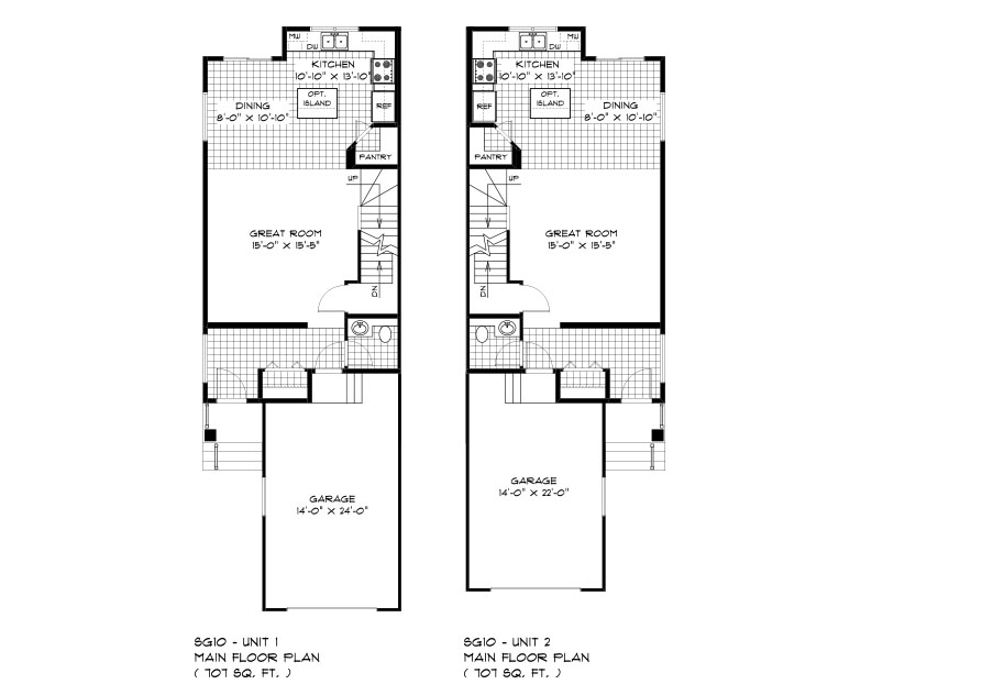 SGA 10 The Seabring Duplex style home main floor plan with great room, dining room, kitchen, powder room and front attached garage Broadview homes