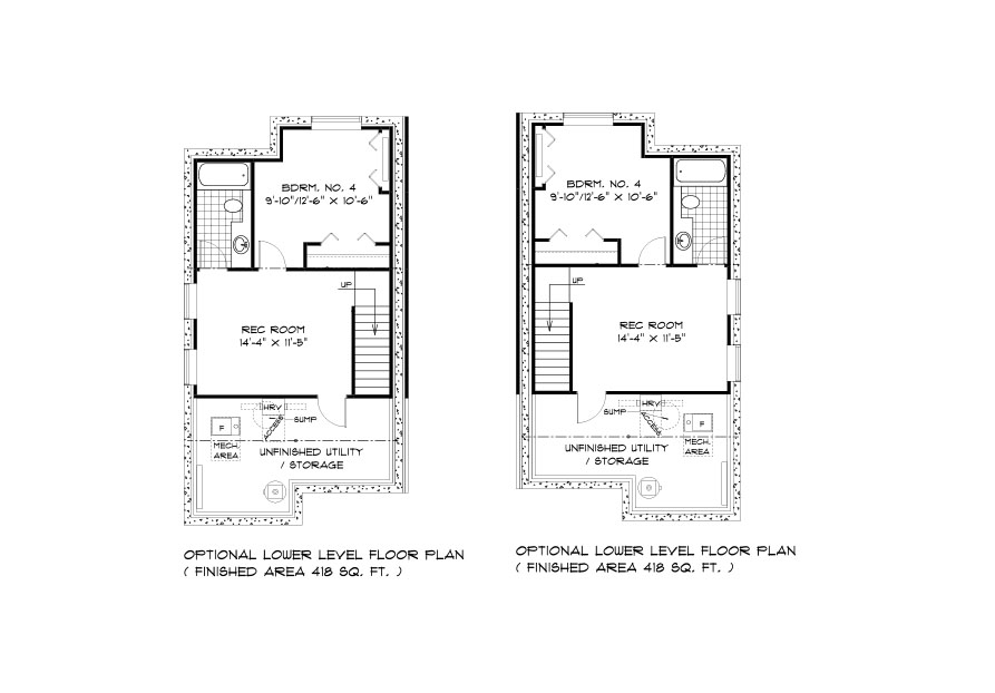 SGA 10 The Seabring Duplex style home lower level plan with 4th bedroom, rec room, full bathroom and utility areas broadview homes