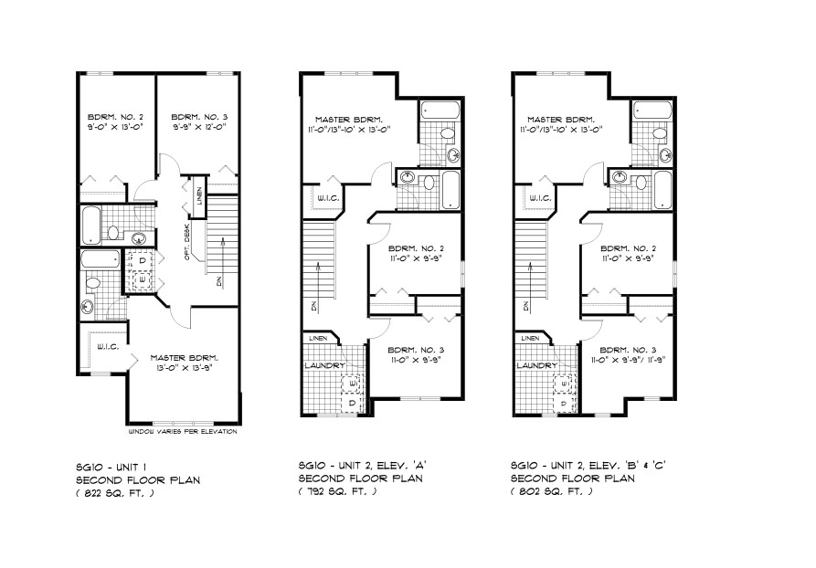 SGA 10 The Seabring Duplex style home second floor plan with 3 bedrooms and 2 bathrooms Broadview homes