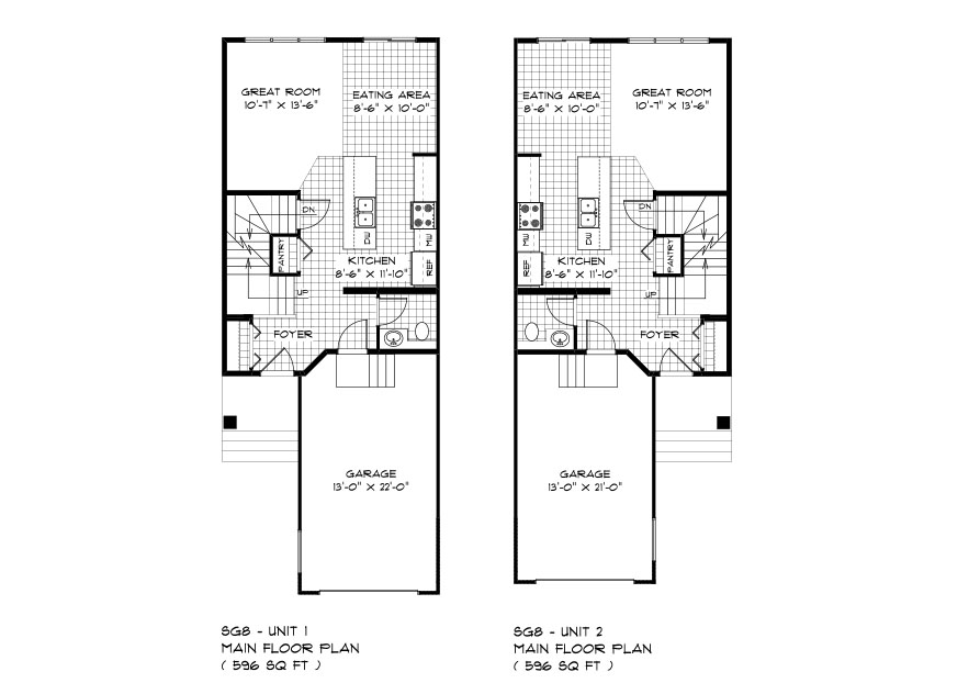 SGA 8 the Secrest duplex style home main floor plan with great roo, eating area, kitchen, powder room and front attached garage broadview homes
