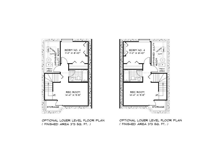 SGA 8 the Seacrest duplex style home lower level plan with 4th bedroom, full bathroom, rec room and utility area broadview homes