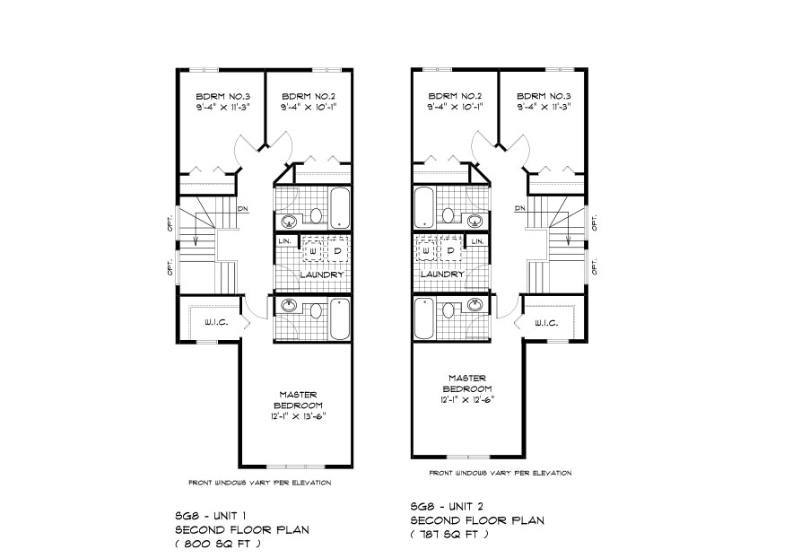 SGA 8 The Seacrest Duplex Style Home second floor plan with 3 bedrooms, 2 bathrooms and second floor laundry broadview homes