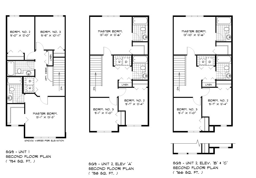SGA 9 The Seabrook duplex style home second floor plan with 3 bedrooms, 2 bathrooms and second floor laundry broadview homes