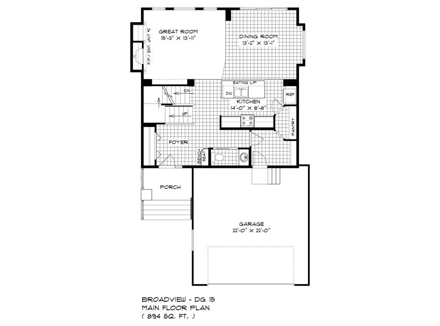 136 Kestrel Way - Main Floor Plan - DG 15 B Broadview Homes