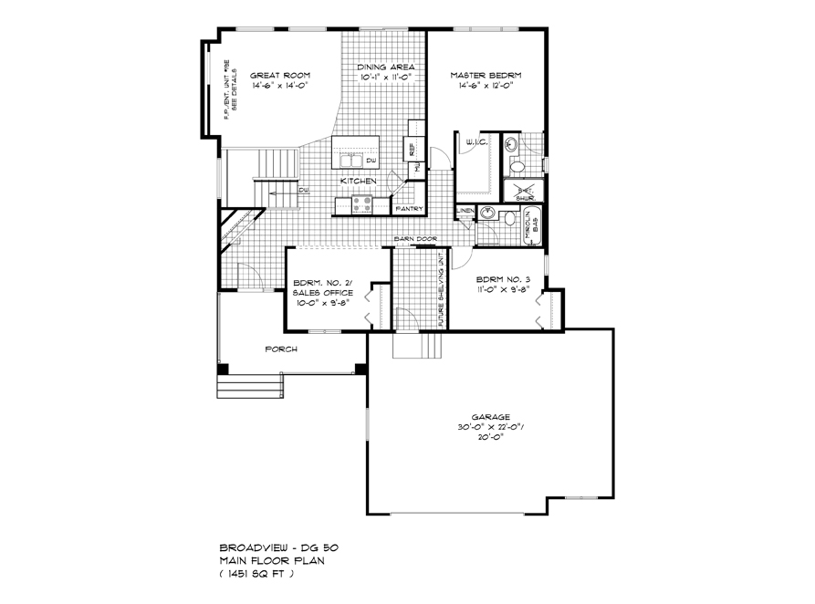 Main Floor Plan - 232 Petryk Terrace - The Pritchard DG 50 A Broadview Homes