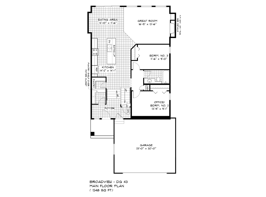 Main Floor Plan - 323 Tanager - The Highview DG 43 A Broadview Homes