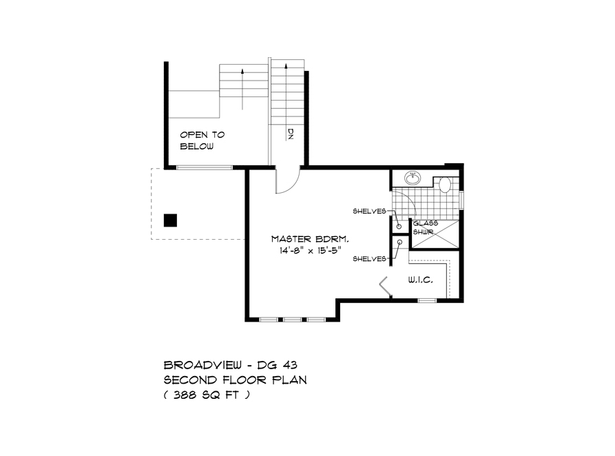 Second Floor Plan - 323 Tanager - The Highview DG 43 A Broadview Homes