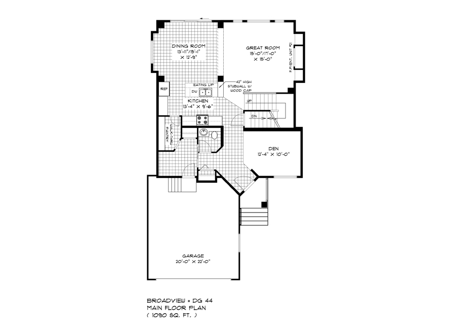 Main Floor Plan - 335 Tanager - The Monteray - DG 44 E Broadview Homes