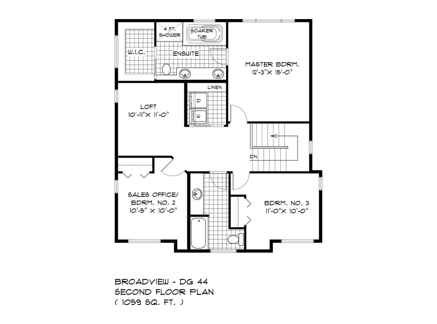 Second Floor Plan - 335 Tanager - The Monteray - DG 44 E Broadview Homes