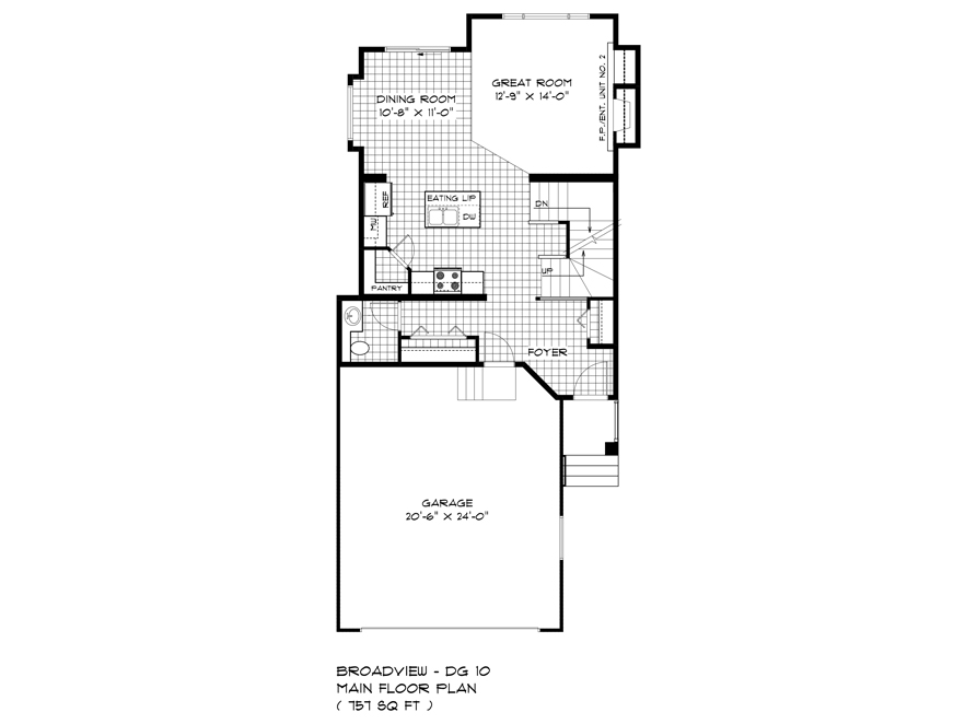 Main Floor Plan - 352 Atlas Crescent - The Preston DG 10 A Broadview Homes