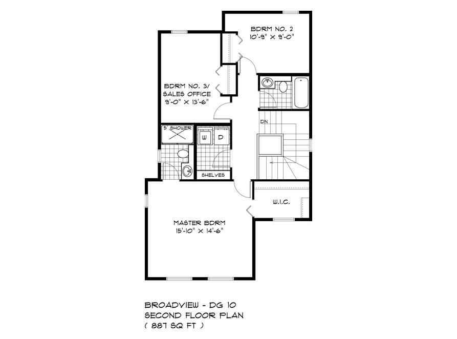 Second Floor Plan - 352 Atlas Crescent - The Preston DG 10 A Broadview Homes
