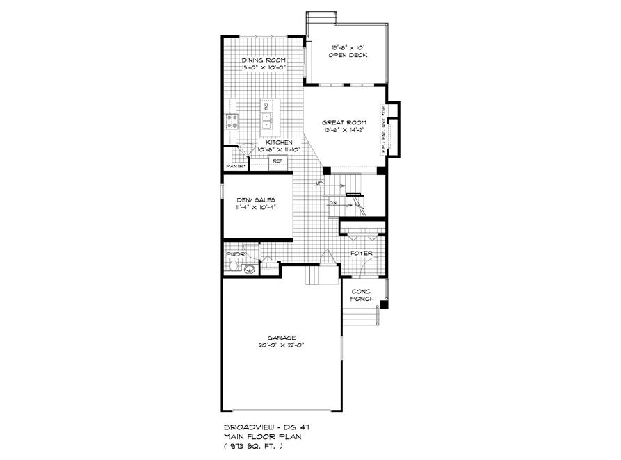 Main Floor Plan - 563 Blvd De La Seinguerie - The Upton DG 47 A Broadview Homes