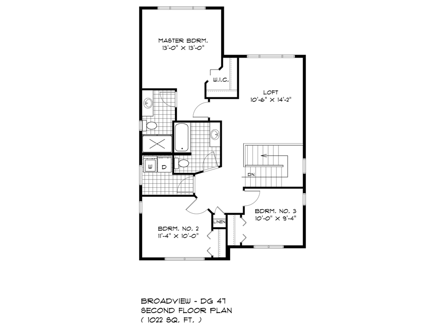 Second Floor Plan - 563 Blvd De La Seinguerie - The Upton DG 47 A Broadview Homes