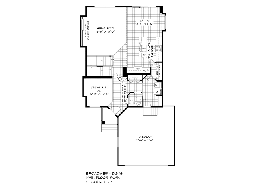 Main Floor Plan - 88 Skyline - The Monticello DG 16 G Broadview Homes