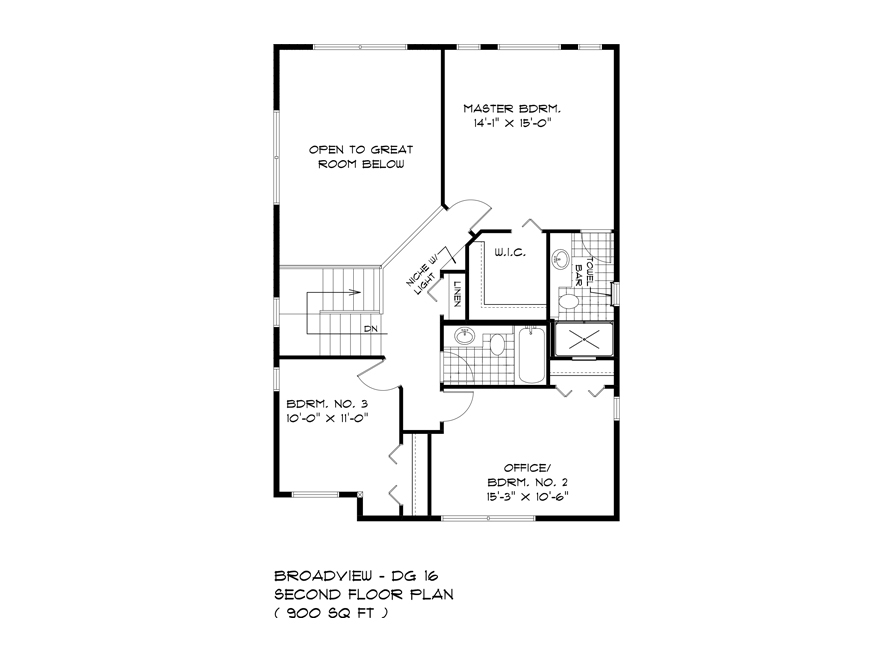 Second Floor Plan - 88 Skyline - The Monticello DG 16 G Broadview Homes