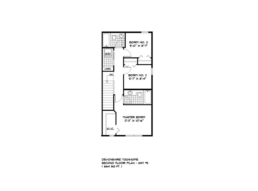 TH 5 - Building #1 Unit #5 - Second Floor Plan