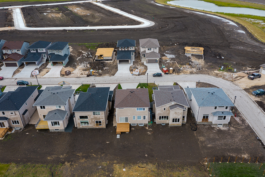 18. 283 John Neufeld - Aerial Rear Elevation Broadview Homes The Avalon DG 15 A with large rear wood deck