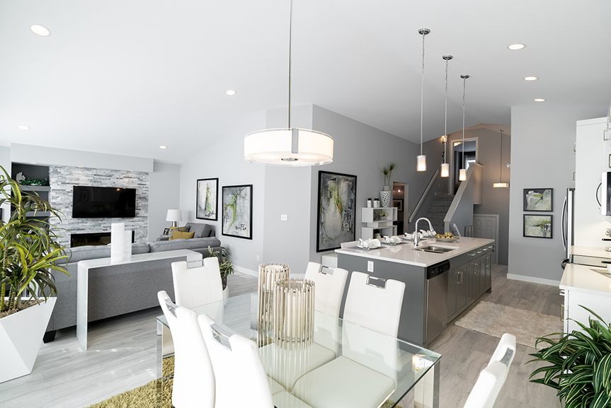 4. 323 Tanager Trail - Dining Room, Kitchen and Great Room Broadview Homes The Highview DG 43 A