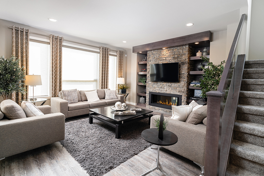 6. 335 Tanager Trail - Great Room Broadview Homes The Highview DG 44 E Twilight