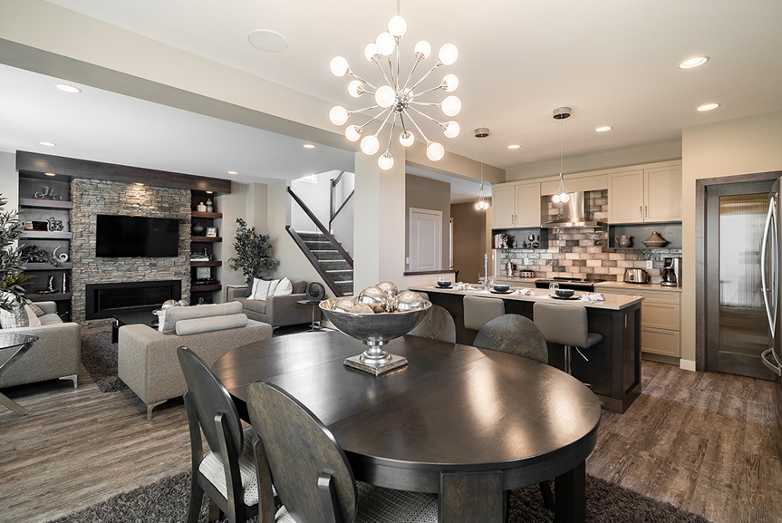 7. 335 Tanager Trail - Great Room Kitchen and Dining Broadview Homes The Highview DG 44 E Twilight