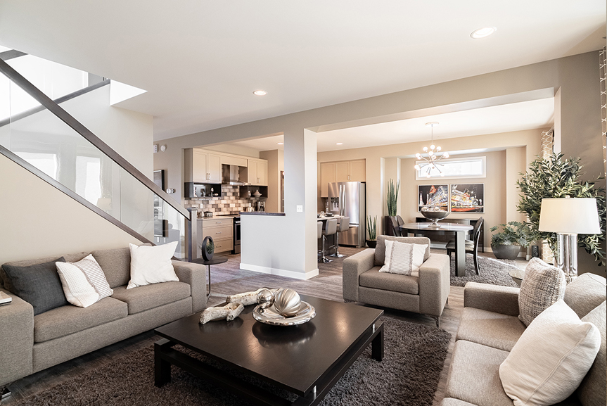 8. 335 Tanager Trail - Great Room Kitchen and Dining Broadview Homes The Highview DG 44 E Twilight