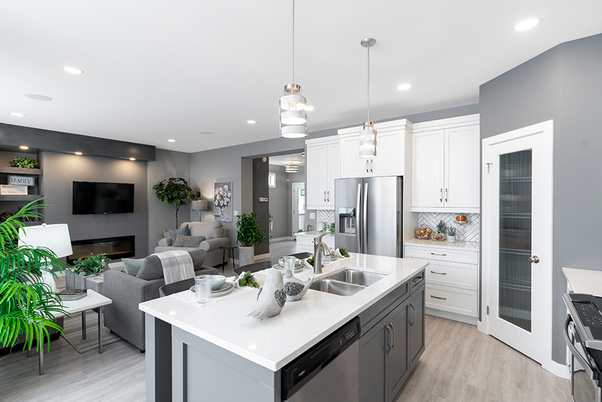 11. Kitchen and Great Room - 4 Merkel Manza The Dawson Broadview Homes Winnipeg