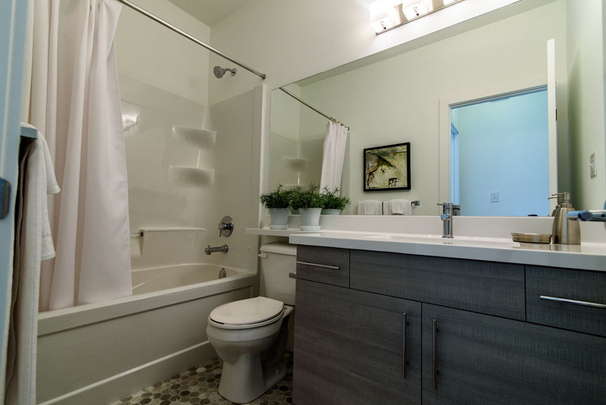 Contemporary Main Bathroom with Grey Vanity and Vinyl Floors