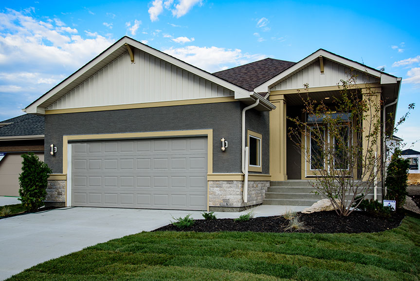 Contemporary Exterior with Stucco, Cultured Stone and Smart Start Trim