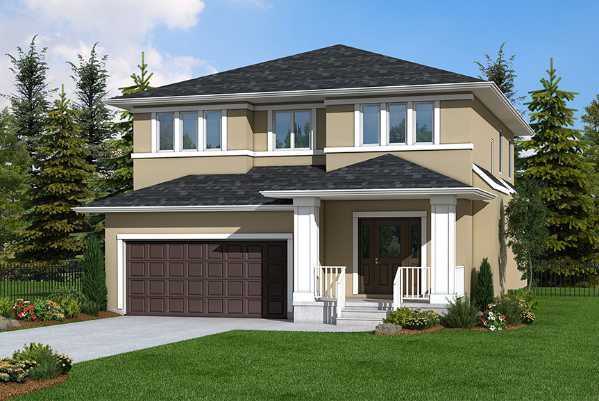 Contemporary Home Exterior with stucco and smart start pillars