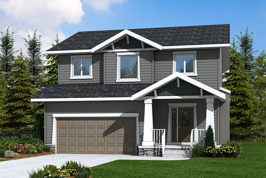 Craftsman Style Exterior of Home with vinyl siding, covered front porch and smart start pillars and gable details