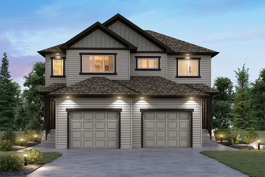 Contemporary Style Duplex Home Exterior with Vinyl Siding and Board and Batten Gables