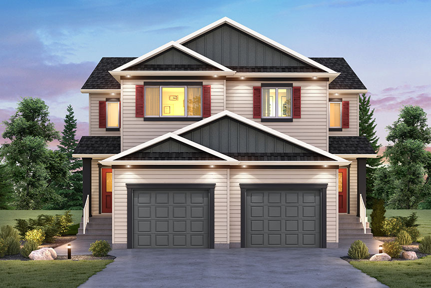 Contemporary Exterior of Duplex home with vinyl siding, smart start trim, front gables with board & batten vinyl siding and shutter details