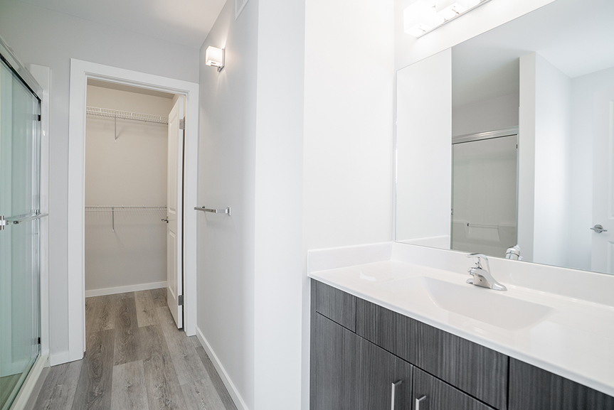 18. Ensuite with grey vinyl plank flooring, woodgrain vanity, white cultured marble tops and light grey painted walls - 62 Jack Reimer DG 18 C The Cottonwood Broadview Homes